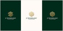 Abstract Monogram Logo Z Technology Letter Design Set, In Gold Color