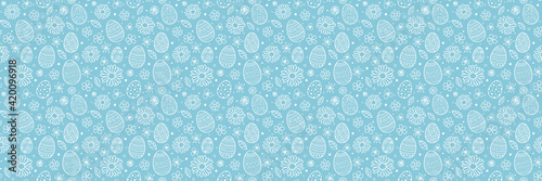 Design of a pattern with Easter eggs and flowers. Banner. Vector Fototapet