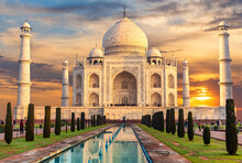 Taj Mahal At Sunset, Famous Place Of Visit, India, Agra