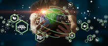 Man Holding Planet Earth As A Green, Ecological And Renewable Energy World Concept. Elements Of This Image Furnished By NASA
