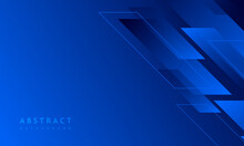 Dark Blue Background With Abstract Square Shape, Dynamic And Sport Banner Concept.