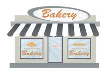 Open Bakery Store. Vector Illustration