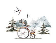 Bicycle With Basket Full Of Flowers And Sparrow. Romantic Birthday Card. Hand Drawn Watercolor Spring Flowers Card