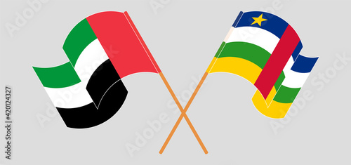 Fotomural Crossed flags of the United Arab Emirates and Central African Republic