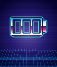 Retro Style Battery Charge Level Indicator Icon Isolated Futuristic Landscape Background. 80s Fashion Party. Vector