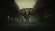 Single Elephant Walking In A Road Without The Sun Cather With Rope Waiting For Cath The Animal Metaphorical Art Image