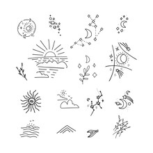Collection Of Doodle Decor Elements - Rising Or Setting Sun, Moon, Clouds And Stars Symbols. Set Of Day And Night Time Pictograms Drawn With Black Lines On White Background. Linear Vector Illustration