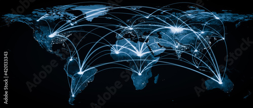 Global network connection covering the earth with lines of innovative perception . Concept of 5G wireless digital connection and future in the internet of things . 3D illustration . - fototapety na wymiar