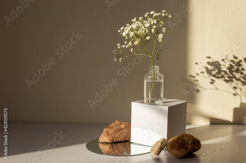 Fototapeta minimalism still life with a branch of a gypsophila flower standing on a white paper cube and stones obraz