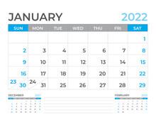 January 2022 Page, Calendar 2022 Template, Desk Calendar, Planner Design, Wall Calendar, Week Starts On Sunday, Stationery Design, Desk Office, Organizer Office, Vector
