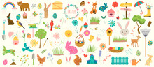 Spring And Easter Colorful Vector Illustration Set. Collection Of Flowers, Birds, Cute Animals, Eggs, Nature Items, And More. Hand Drawn Illustrations And Doodles.