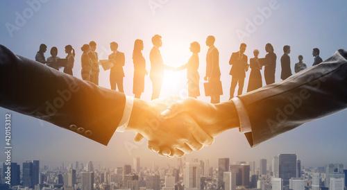 Carta da parati ビジネスネットワーク チームワーク パートナーシップ