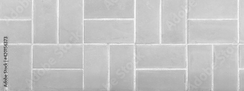 Fotografie, Obraz Panorama of Outdoor white block stone floor pattern and background seamless
