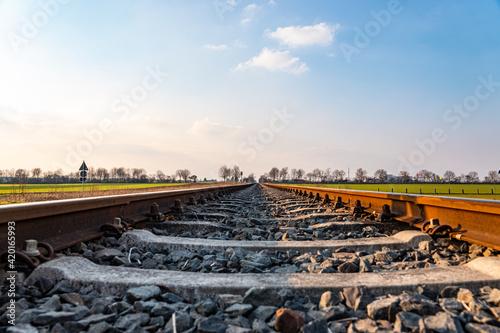 Fototapeta empty railroad between the fields