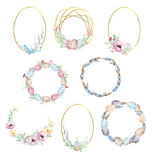 Set Of Watercolor Easter Gold And Floral Wreaths