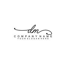 DM Beautiful Initial Handwriting Logo Template