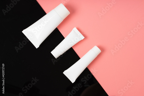 white realistic glossy cosmetic tubes