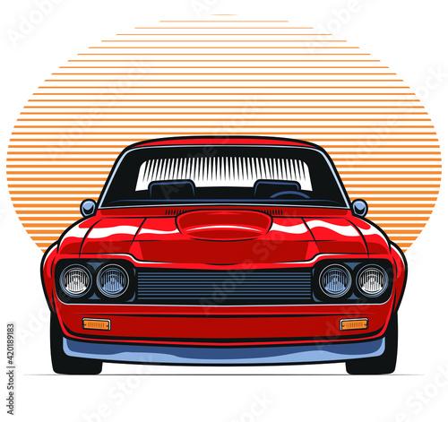 Obraz red fron facing classic car - fototapety do salonu