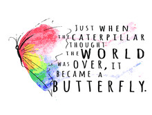 Just When The Caterpillar Thought The World Was Over It Became A Butterfly Sign Inspirational Quotes And Motivational Typography