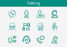 Premium Set Of Talking Line Icons. Simple Talking Icon Pack. Stroke Vector Illustration On A White Background. Modern Outline Style Icons Collection Of Call Center, Support, Speech, Phone Call