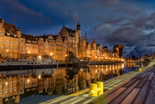 Old Town Of Gdansk Over Motlawa River At Dawn, Poland. Gdansk Is The Historical Capital Of Polish Pomerania With Gothic Architecture.