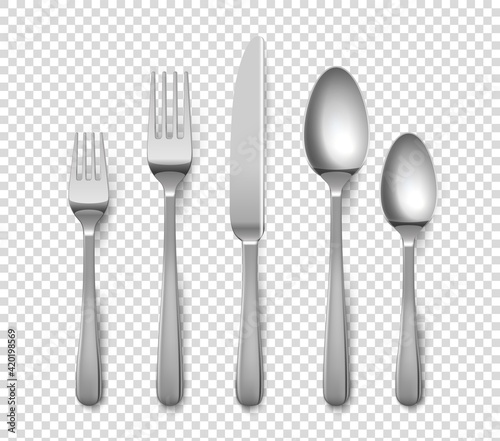Obraz Realistic cutlery. 3D forks and knives or spoons. Isolated metal objects for table setting on transparent background. Top view of silverware set. Vector flatware from stainless steel - fototapety do salonu
