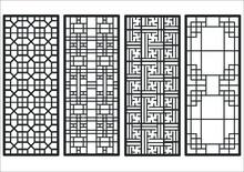 Traditional Korean Ornament Frame Pattern. Set Of Door And Window Antique Decoration Art Vector Illustration.