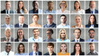 Leinwandbild Motiv Happy group of multiethnic business people men and women. Different young and old people group headshots in collage. Multicultural faces looking at camera.