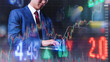 Business man using laptop computer futuristic trading graph chart, background, trading crypto currency, stock exchange. business finance investment concept