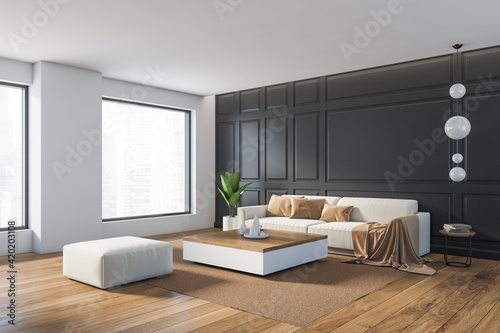 Grey living room with furniture, decoration and window