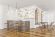Wooden Cafe Interior With Bar Counter And Cupboard, Sofa With Table And Chairs