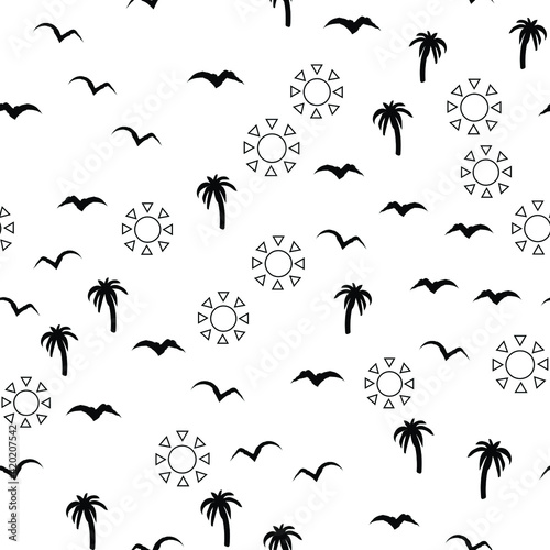 Black and white beach pattern with palm trees, birds and sun for fabrics