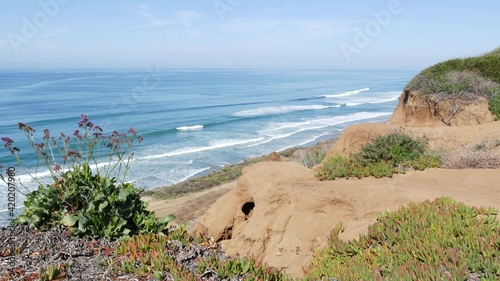 Canvas Print Seascape vista point, viewpoint in Del Mar near Torrey Pines, California coast USA