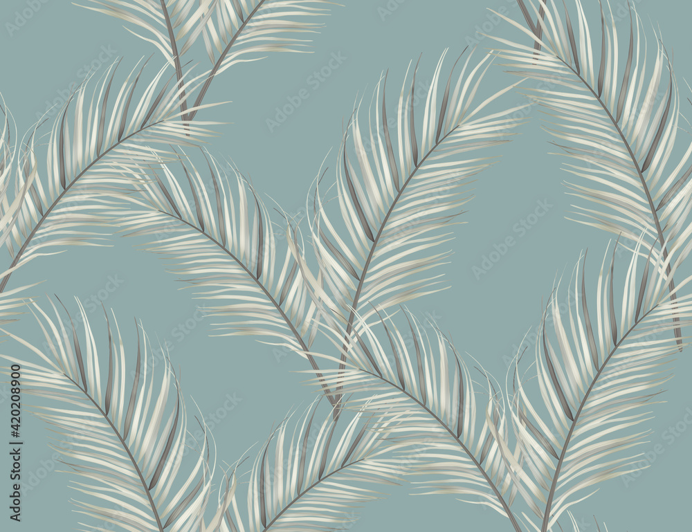 Fototapeta Tropical black and white jungle flowers and palm leaves. seamless stylish fashion floral pattern, in Hawaiian style