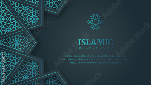 Fototapeta Islamic Arabic Arabesque Ornament Border Abstract Background with Copy Space for Text obraz