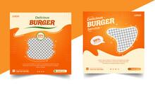 Delicious Burger Social Media Post Template, Fast Food Social Media Template For Restaurant, Burger Banner Or Poster, Junk Food. Super Delicious Burger Flyer Design, Free Delivery
