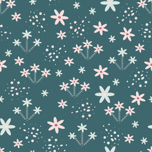 Seamless Floral Pattern. Scandinavian Style Texture For Fabric, Wrapping, Textile, Wallpaper, Apparel. Vector Illustration