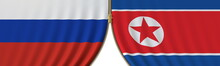 Flags Of Russia And North Korea And Closing Or Opening Zipper Between Them. Political Negotiations Or Interaction Conceptual 3D Rendering