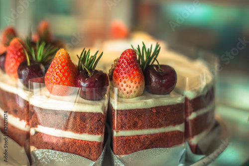 Photo The blurred background of the chocolate ice cream cake is in the shape of various animals, giving a new twist to today's coffee shop or dessert shop menu