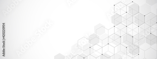 Abstract background with geometric shapes and hexagon pattern. Illustration for medicine, technology or science design