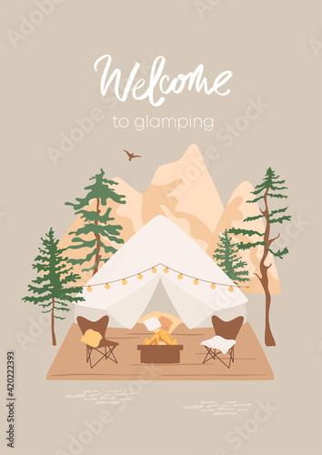 Welcome to glamping concept Fotobehang