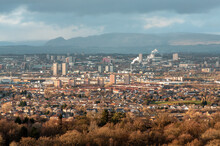 View Of The Glasgow Cityscape From Cathkin Braes Country Park