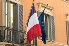 French And European Flags Fluttering