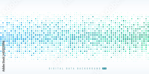 Fototapeta Abstract digital data technology square light blue and green pattern pixel background with copy space. Modern futuristic horizontal pixel design. Vector illustration obraz