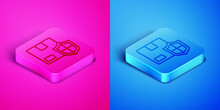 Isometric Line Delivery Security With Shield Icon Isolated On Pink And Blue Background. Delivery Insurance. Insured Cardboard Boxes Beyond The Shield. Square Button. Vector