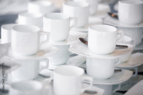Leinwand Poster coffee cups and saucers