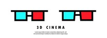 3D Cinema Glasses Icon Set. Watching Movie Concept. Vector EPS 10. Isolated On White Background