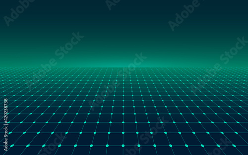 Obraz Abstract perspective green grid. Retro futuristic neon line on dark background, 80s design perspective distorted plane landscape composed of crossed neon lights and laser beams. Vector illustration - fototapety do salonu