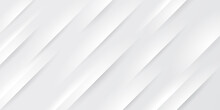 Abstract White & Grey Gradient Color With Oblique Lines Stripes Background. Geometric Minimal Pattern Modern Sleek Texture. Simple Paper Cut Concept. Vector Illustration