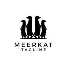 Vector Illustration Of A Black Silhouette Meerkat. Animal Logo Design Inspiration.